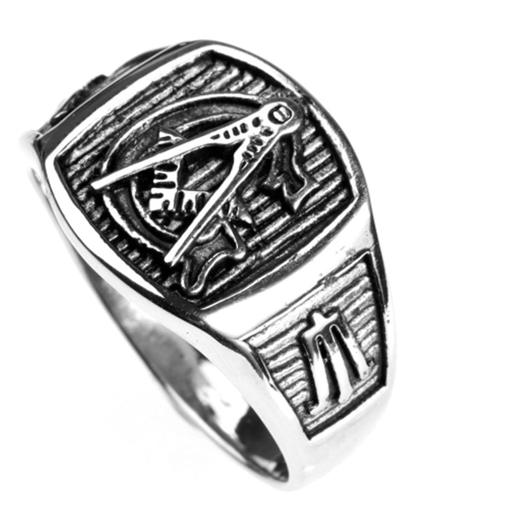 Stainless Steel Ring for Men Retro Silver Masonic Free Engraving