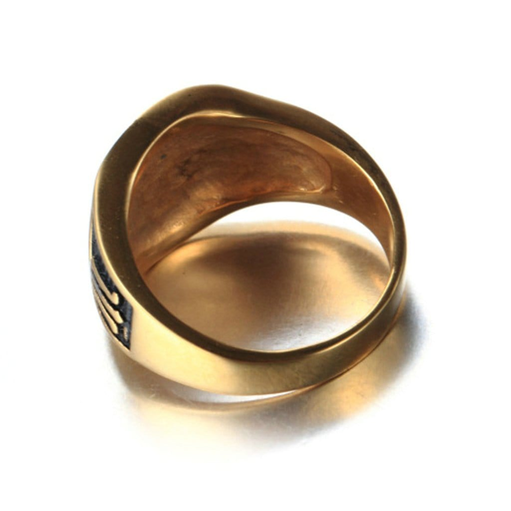 Rings for Men Wedding Stainless Steel Retro Gold Masonic Free Engraving