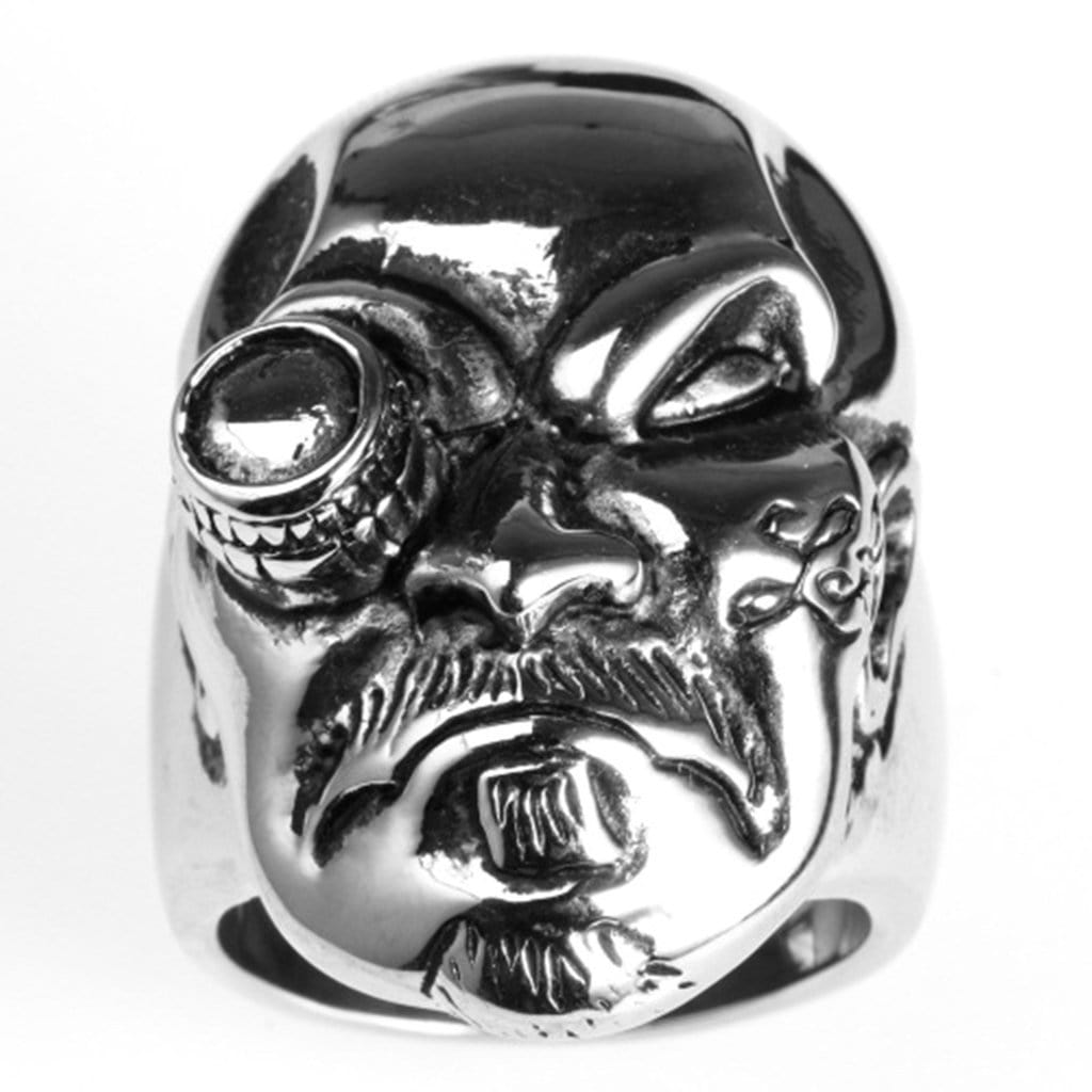 Stainless Steel Ring for Men Punk Silver Skull One Eye Free Engraving
