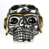 Stainless Steel Ring for Men Punk Silver Pilot Skull Free Engraving