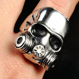 Stainless Steel Mens Ring Gas Mask Skull Silver Free Engraving