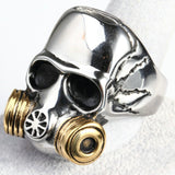 Stainless Steel Mens Ring Gas Mask Skull Gold Free Engraving