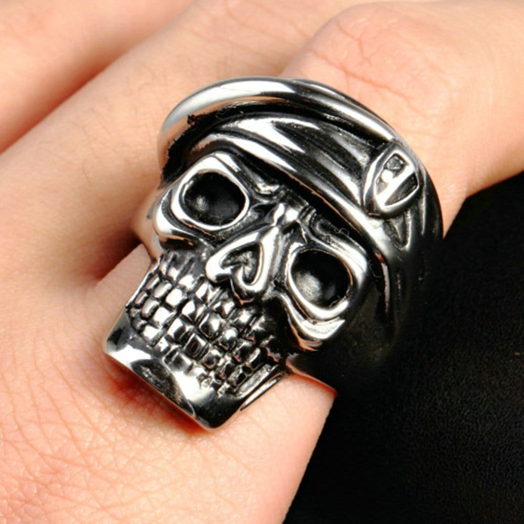 Stainless Steel Mens Ring Punk Soldier Skull Silver Free Engraving