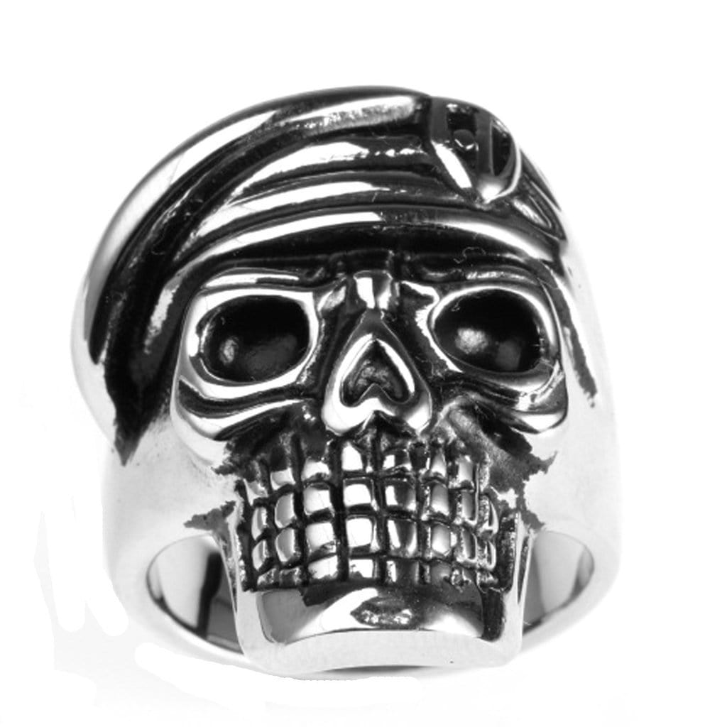 Stainless Steel Mens Ring Punk Soldier Skull Gold Free Engraving