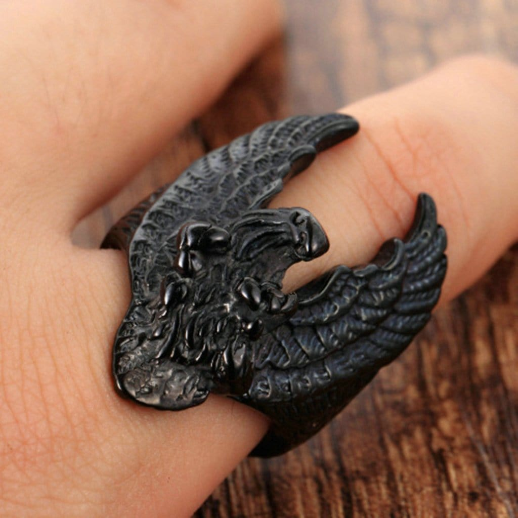 Stainless Steel Mens Ring Punk Eagle Black Free Engraving