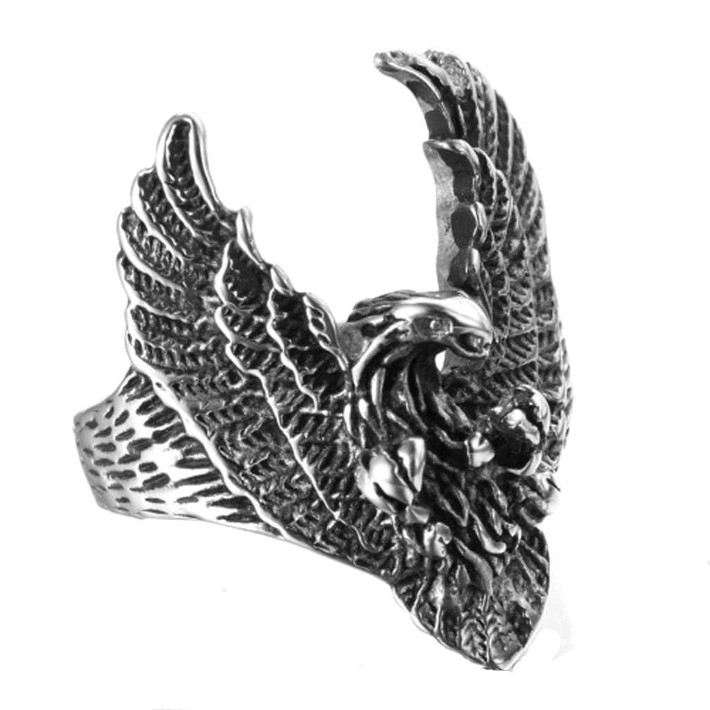 Stainless Steel Mens Ring Punk Eagle Silver Free Engraving