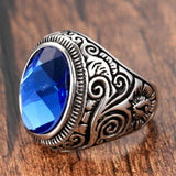 Stainless Steel Ring for Men Retro Silver Round Blue Zircon Free Engraving