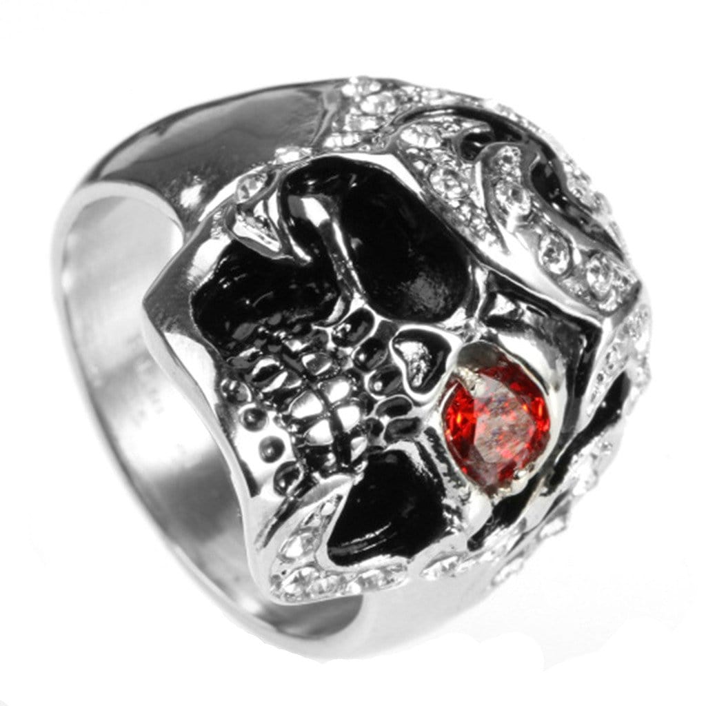 Men Ring Wedding Stainless Steel Punk Silver Zircon Free Engraving