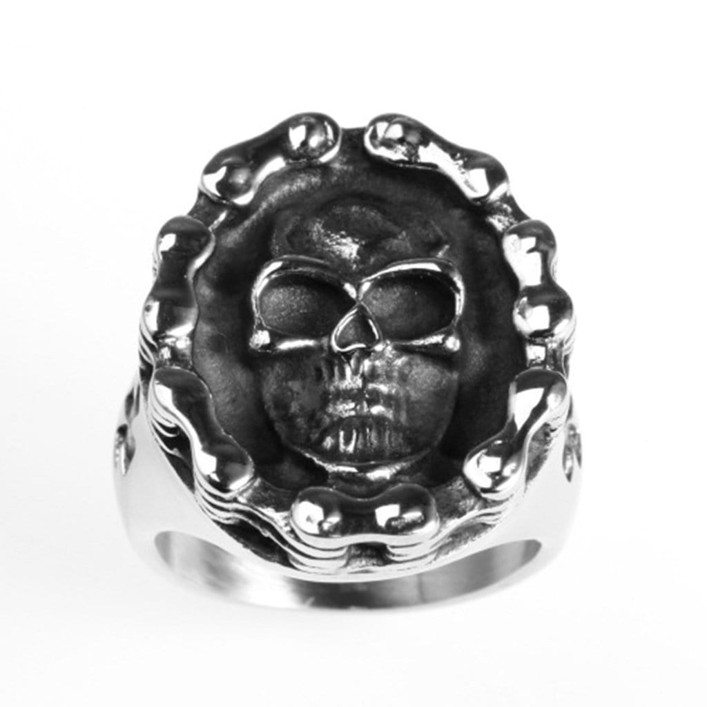 Stainless Steel Ring for Men Punk Silver Skull Chain Free Engraving