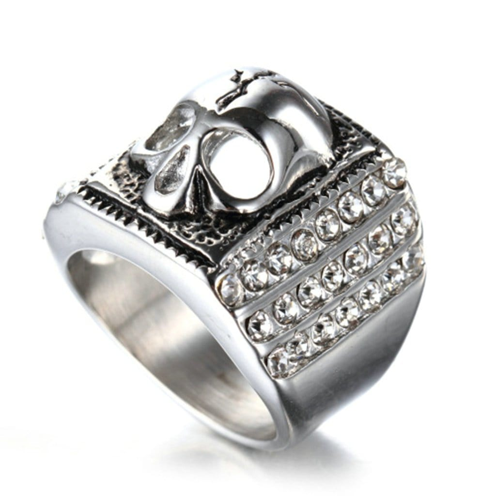 Stainless Steel Ring for Men Punk Silver Skull Zircon Free Engraving