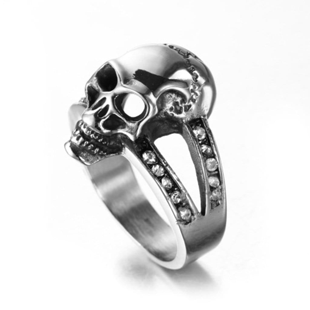 Stainless Steel Ring for Men Punk Zircons Skull Silver Free Engraving
