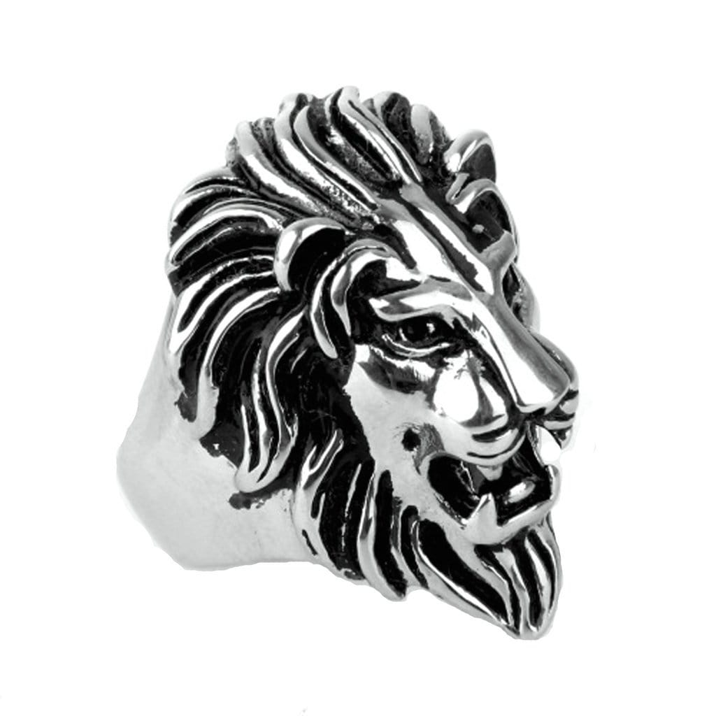 Stainless Steel Mens Ring Punk Lion Head Silver Gold Free Engraving