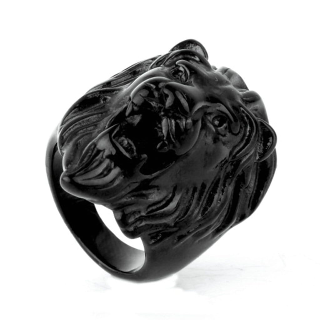 Stainless Steel Mens Ring Punk Lion Head Black Free Engraving