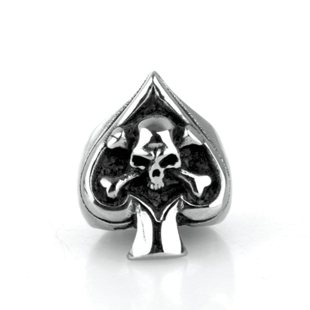 Stainless Steel Ring for Men Punk Silver Skull Spades Free Engraving