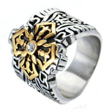 Stainless Steel Mens Ring Retro Cz Black Gem Seven Feet Silver Free Engraving