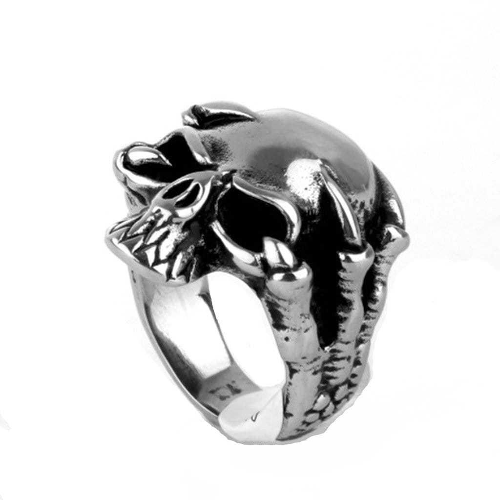 Stainless Steel Ring for Men Punk Silver Six Prongs Skull Free Engraving