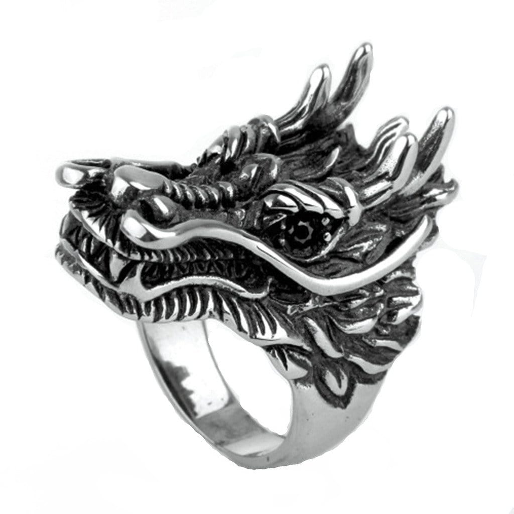 Stainless Steel Ring for Men Punk Silver Dragon Free Engraving