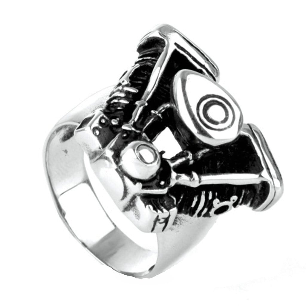 Stainless Steel Ring for Men Punk Silver Motorbike Engines Free Engraving