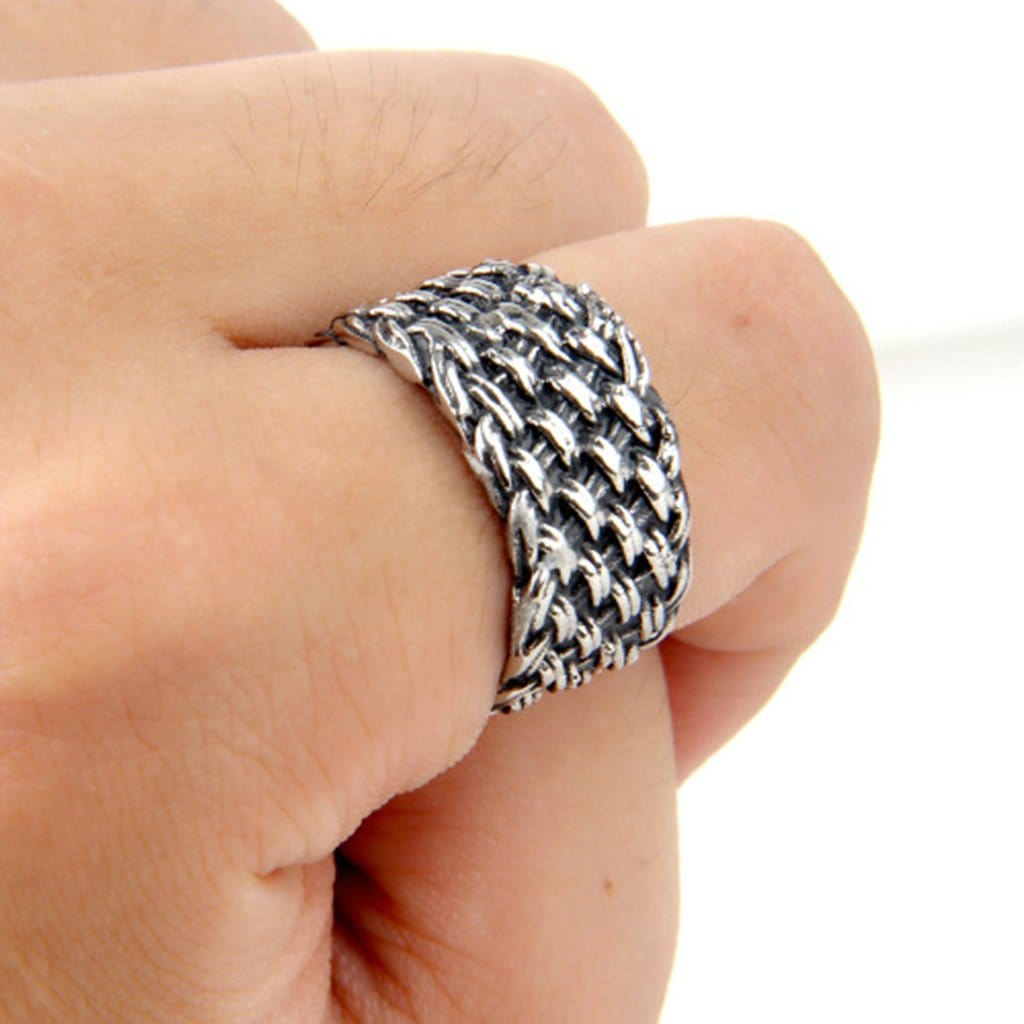 Stainless Steel Mens Ring Vintage Woven Silver Free Engraving