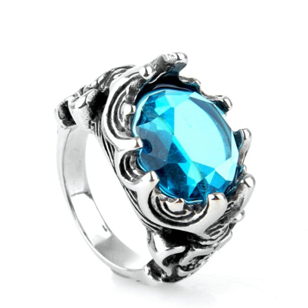 Stainless Steel Mens Ring Vintage Cz Blue Skull Silver Free Engraving