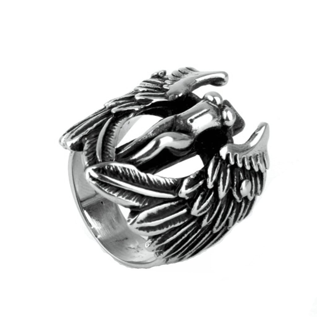 Stainless Steel Ring for Men Vintage Silver Angel Wings Free Engraving