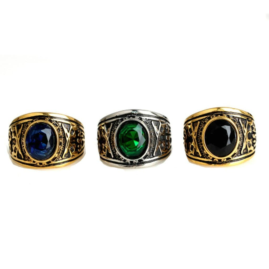 Stainless Steel Rings for Men Fashion Gem Cz Green Silver Free Engraving