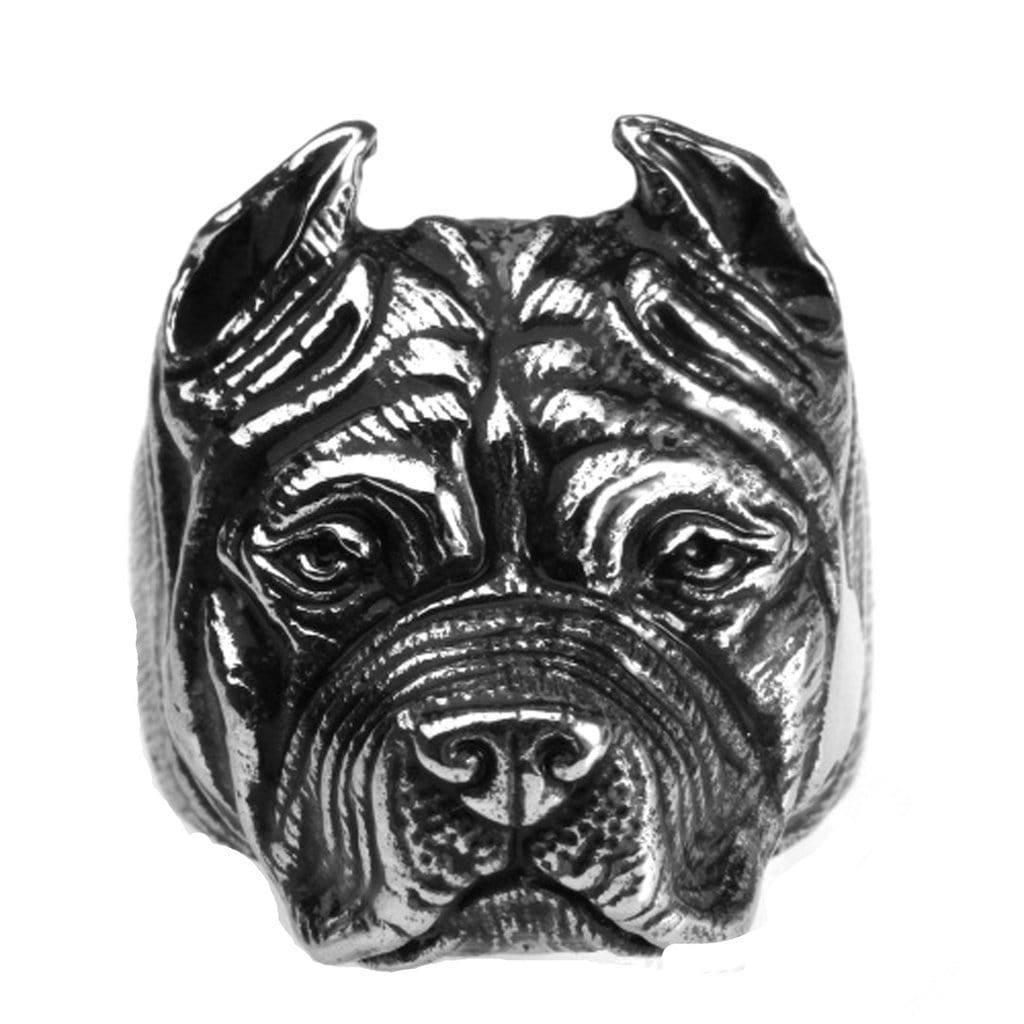 Stainless Steel Mens Ring Punk Bully Dog Silver Free Engraving
