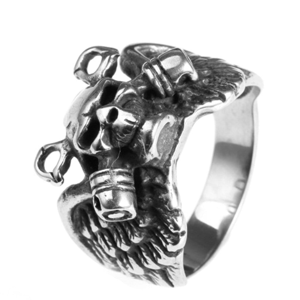 Fashion Stainless Steel Ring for His Punk Silver Skull Wings Men'S Rings