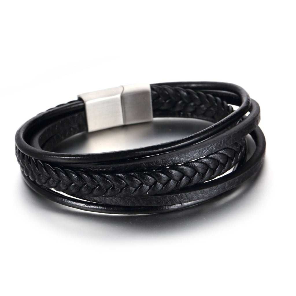 Stainless Steel Bracelet for Men Multi Layer Leather Rope Black Chain 21.5CM
