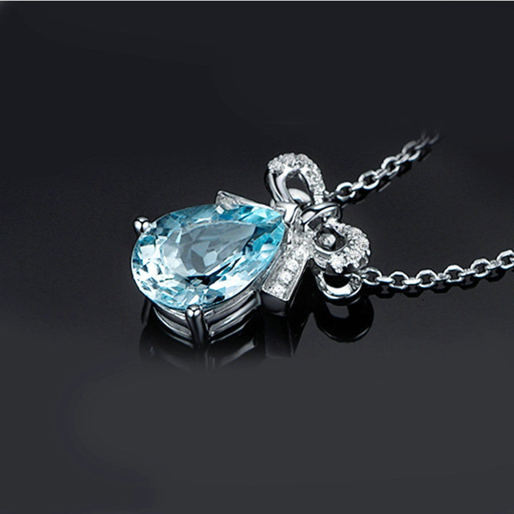 14K White Gold Topaz Pendant Necklace for Women Teardrop Blue Bowknot Chain