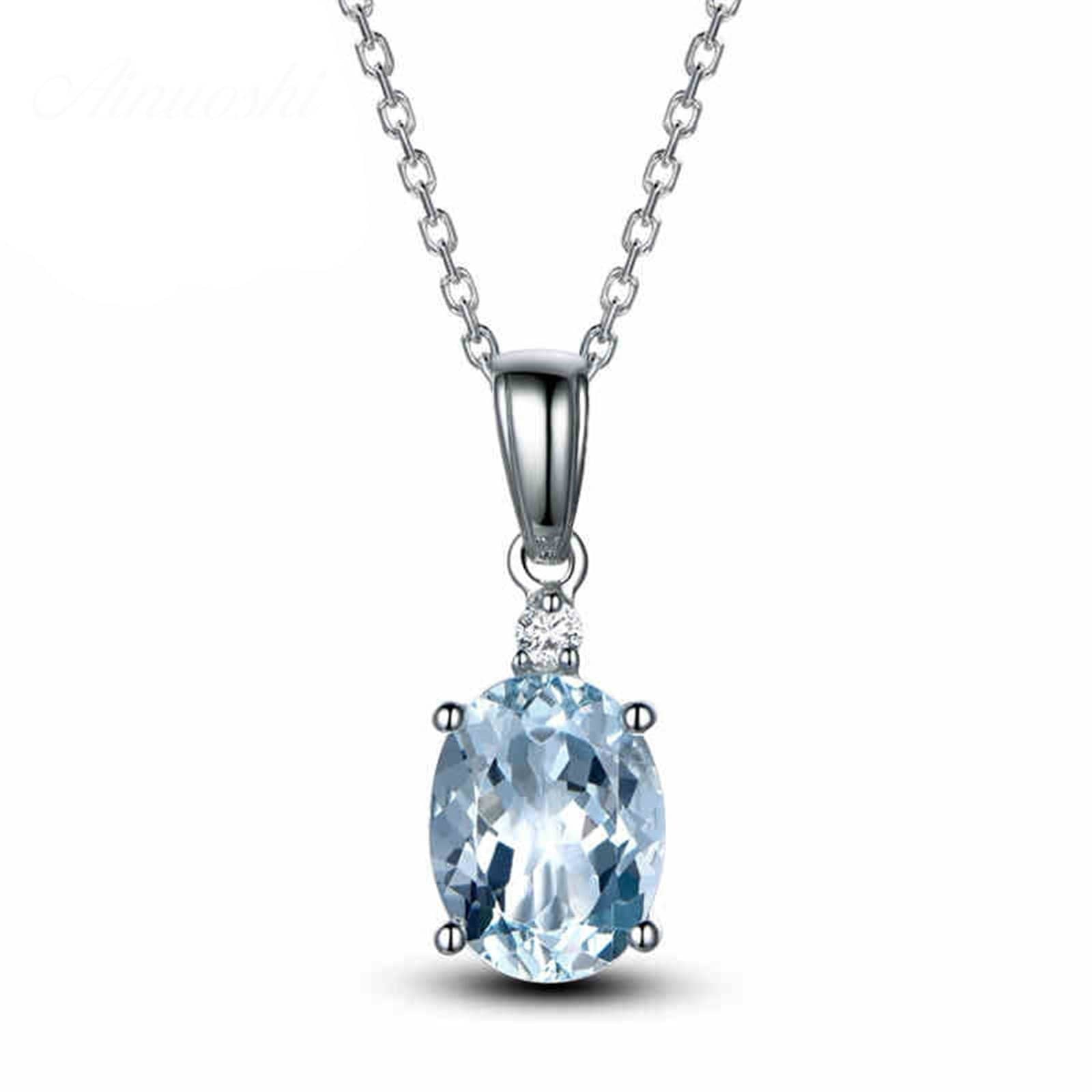 14K White Gold Natural Topaz Pendant Necklace for Women Lady Chain