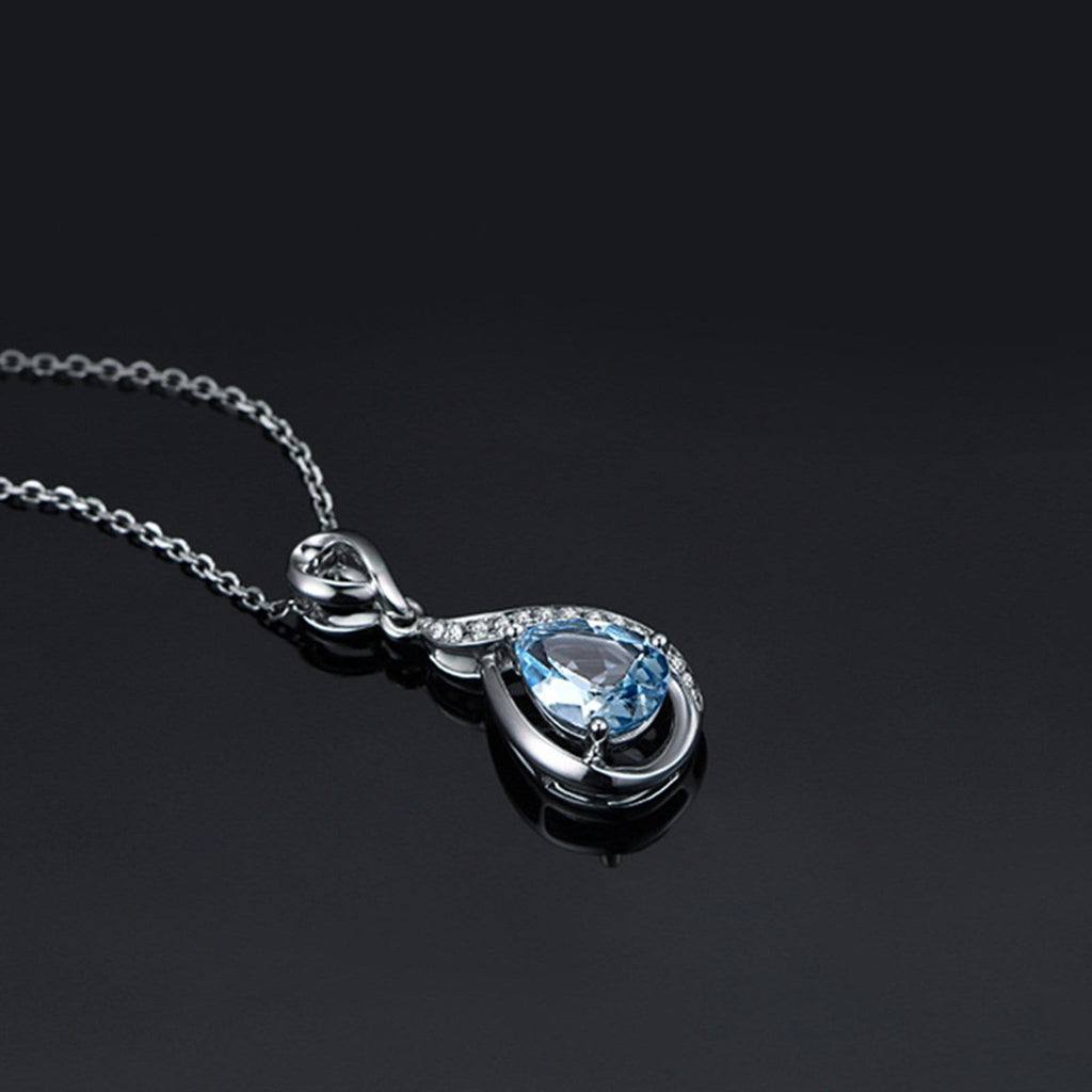 14K White Gold Necklace for Women Teardrop Blue Topaz White Cubic Zirconia 45cm Chain