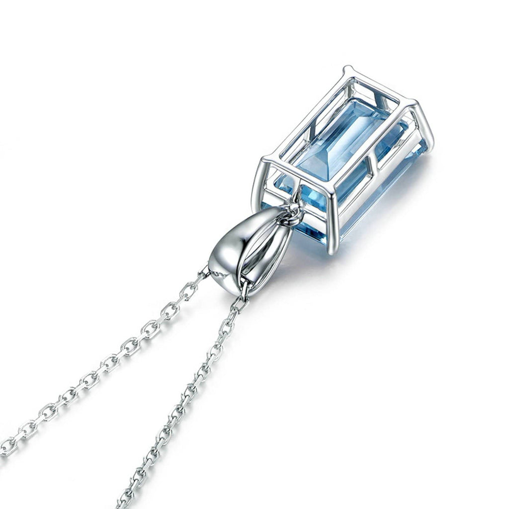 14K White Gold Necklace Rectangular Blue Topaz Pendant for Women Chain