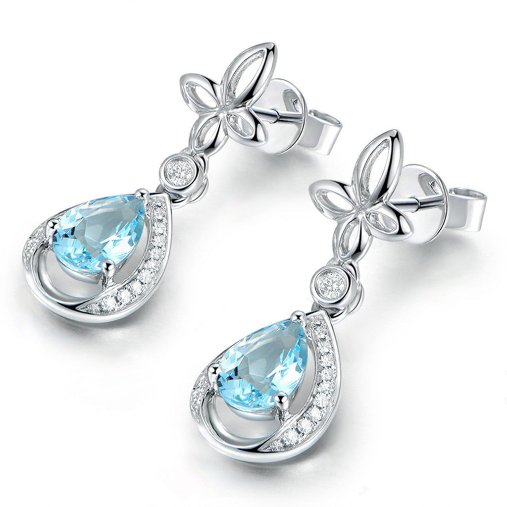 14K White Gold Topaz Drop Earrings for Women Teardrop Blue Gemstone