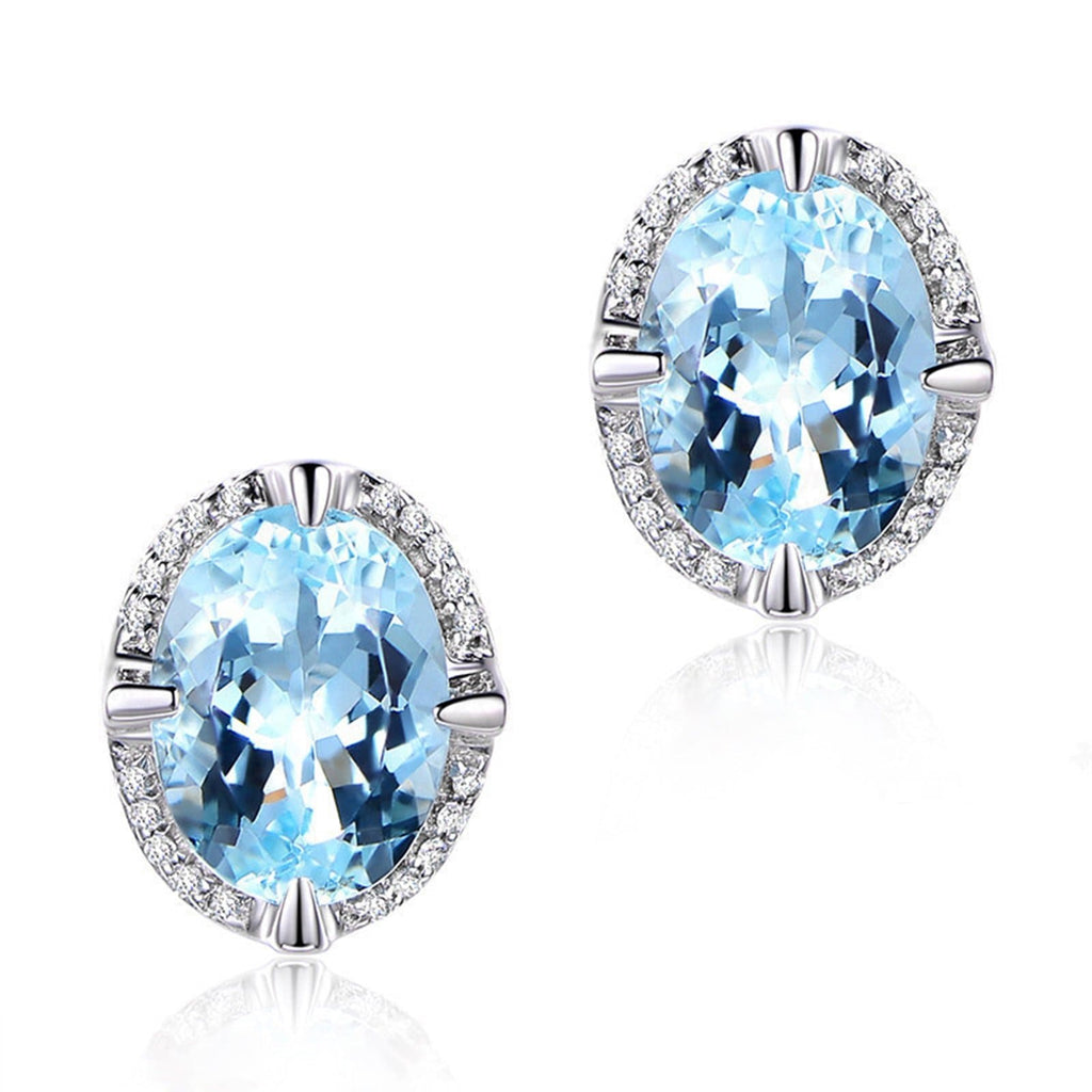 14K White Gold Topaz Stud Earrings for Women Oval Blue Gemstone
