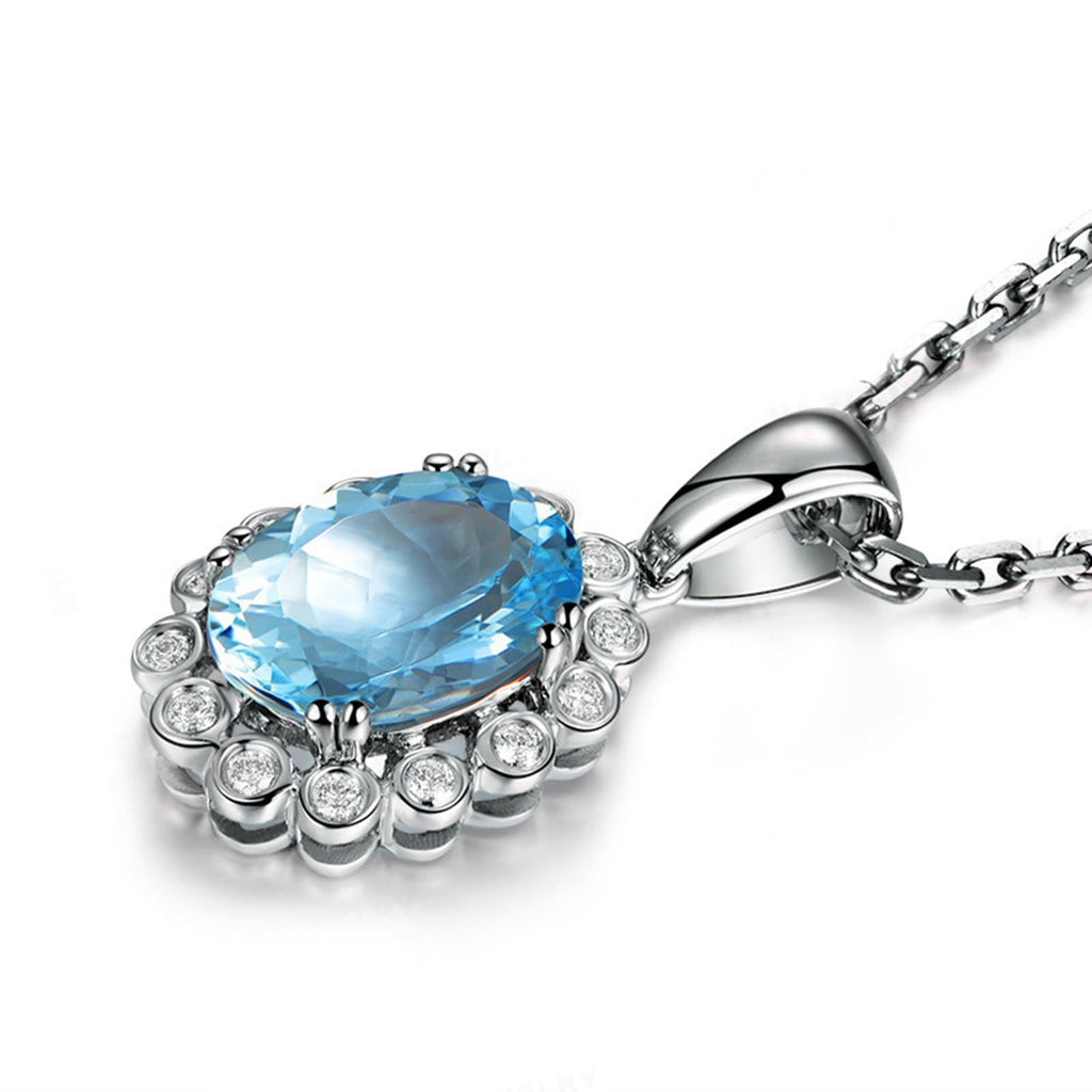 14K White Gold Blue Topaz Pendant Necklace for Women Lady Chain