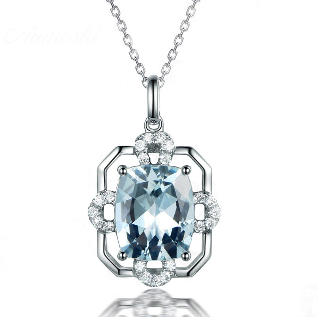 14K White Gold Blue Topaz Pendant Necklace for Women Chain