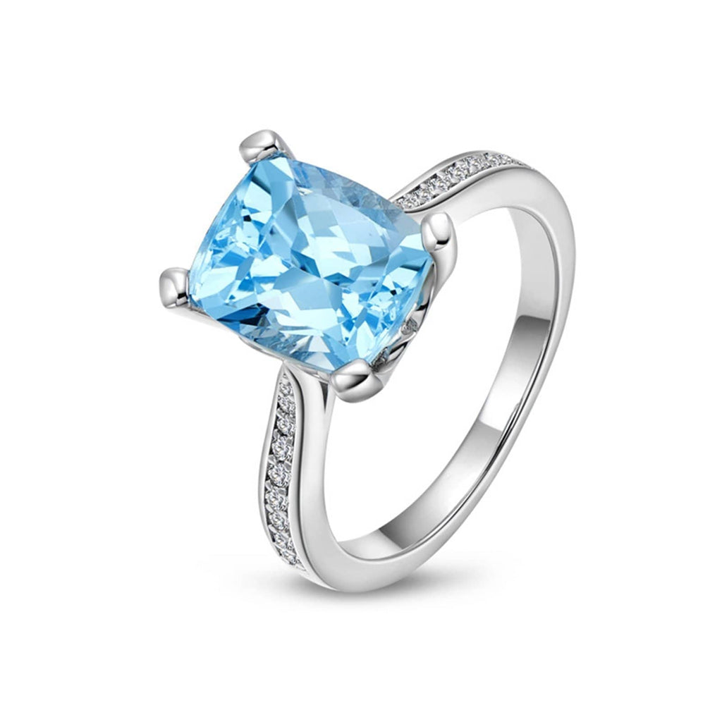 Rings 2019 Womens Ring Sterling Silver Ring For Women Rectangular Topaz Cubic Zirconia Anniversary Rings Silver Blue Ring Size 4