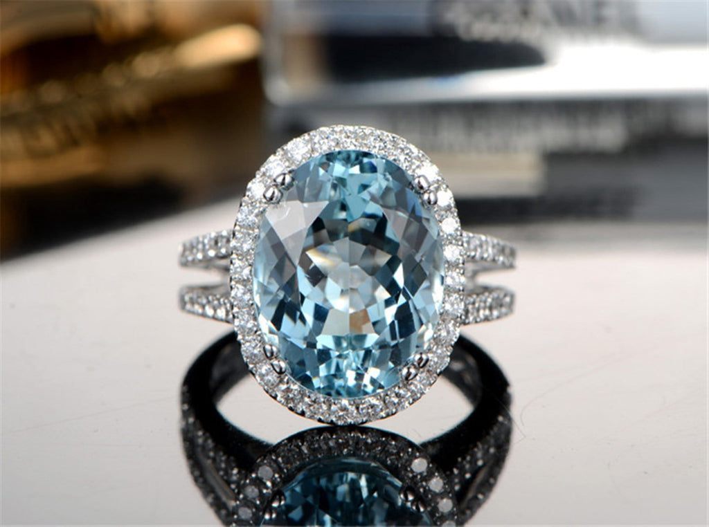 Crystal Ring Band Womens Ring Sterling Silver Ring For Women Oval Topaz Cubic Zirconia Anniversary Rings Silver Blue Ring Size 4