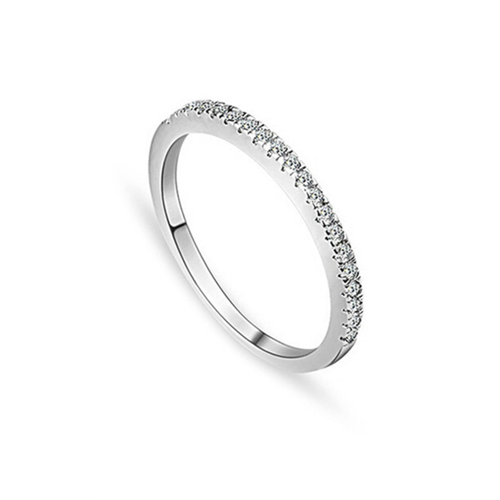 Rings Uk Womens Ring Sterling Silver Ring For Women Round Cubic Zirconia Anniversary Rings Silver Ring Size 4