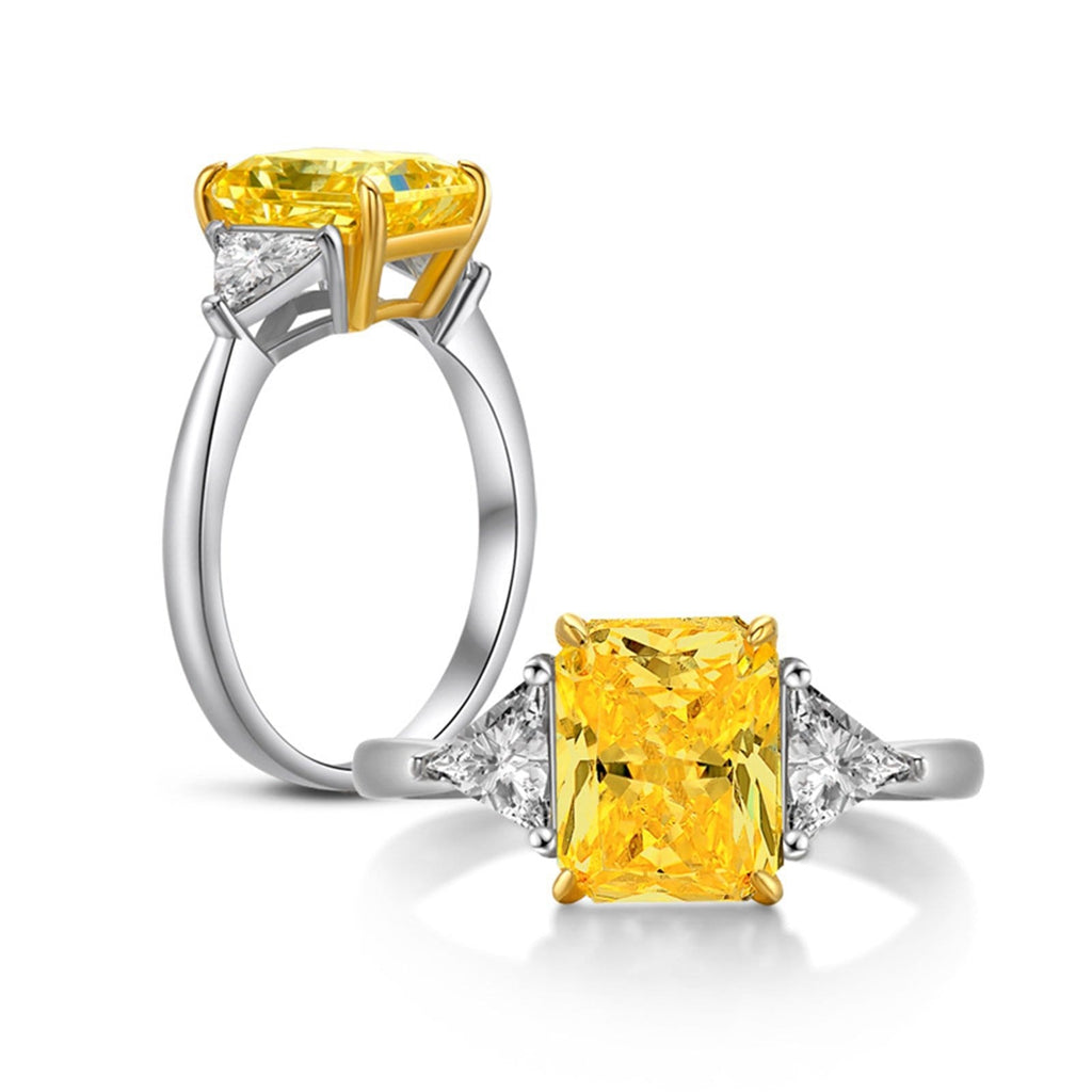 Rings Sale S925 Sterling Silver Rings Rectangular 8x10MM Yellow Cubic Zirconia Silver Wedding Rings for Women Size 9.5