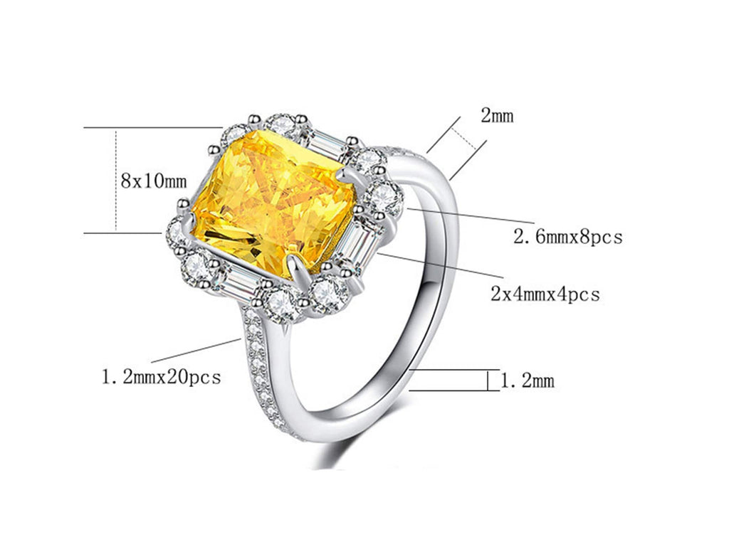 Rings Zirconia For Women S925 Sterling Silver Rings Rectangular 8x10MM Yellow Cubic Zirconia Silver Eternity Engagement Rings for Women Size 5