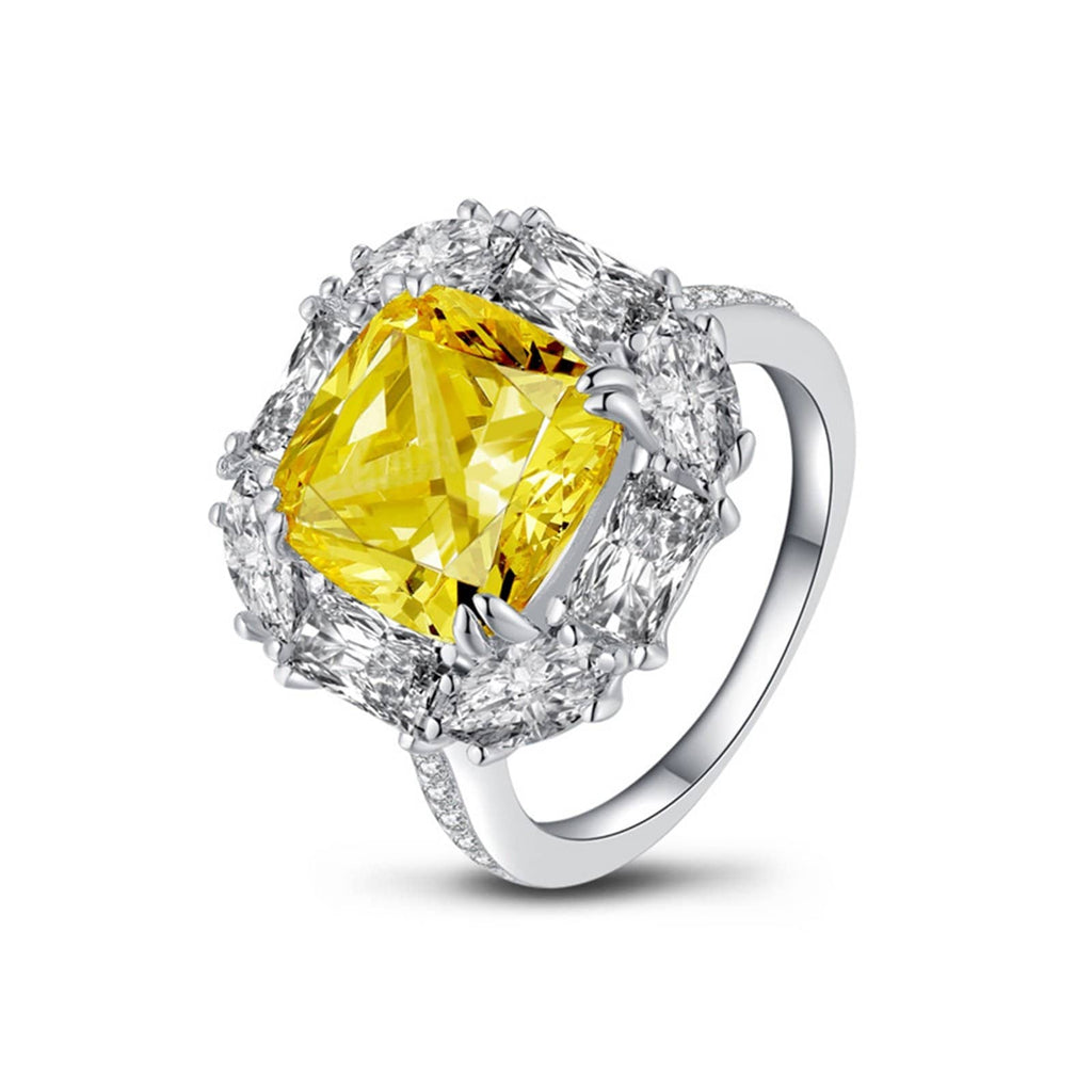 Rings Silver Womens Ring Sterling Silver Ring For Women Square Cubic Zirconia Anniversary Rings Silver Yellow Ring Size 5