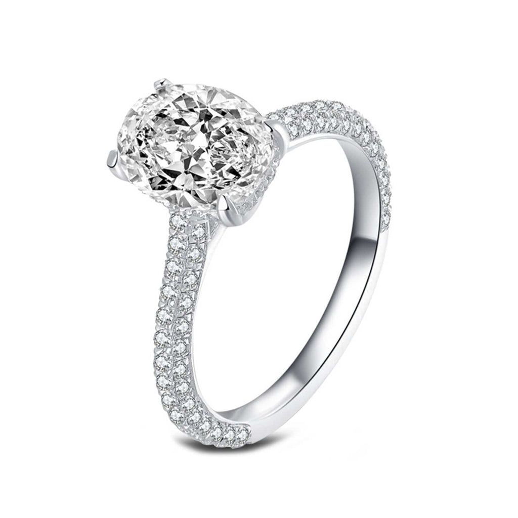Rings Canada S925 Sterling Silver Rings Oval 7x9MM White Cubic Zirconia Silver Engagement Rings for Women Size 5