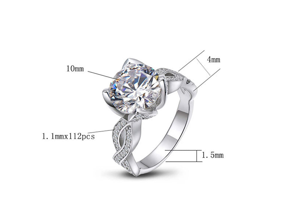 925 Rings With Stones S925 Sterling Silver Rings Round 10x10MM White Cubic Zirconia Silver 3.5CT Engagement Rings for Women Size 5
