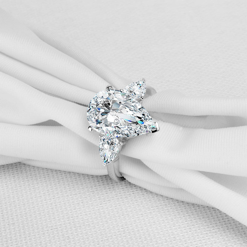 Rings Online S925 Sterling Silver Rings Pear 9x14MM White Cubic Zirconia Silver Teardrop Wedding Rings for Women Size 5