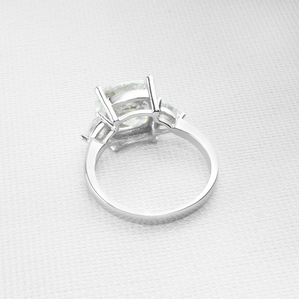 Rings For Her S925 Sterling Silver Rings Round 10x10MM White Cubic Zirconia Silver Promise Rings for Women Size 4
