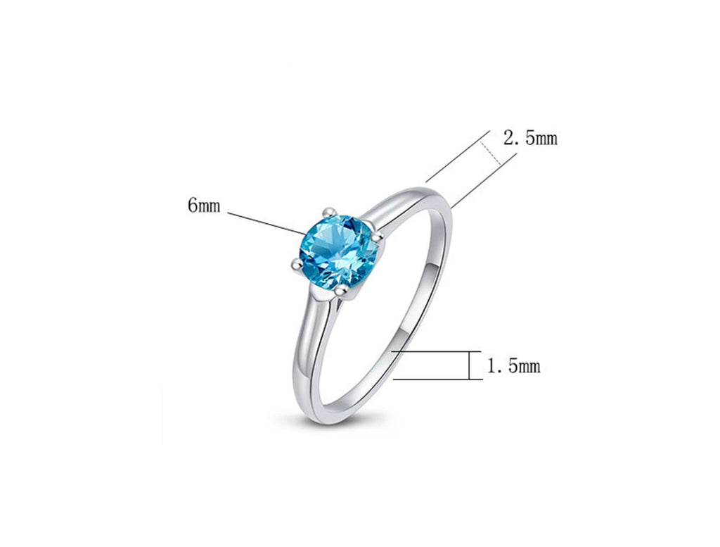 Rings Wedding S925 Sterling Silver Rings Round 6x6MM Blue Topaz Silver Wedding Rings for Women Size 4