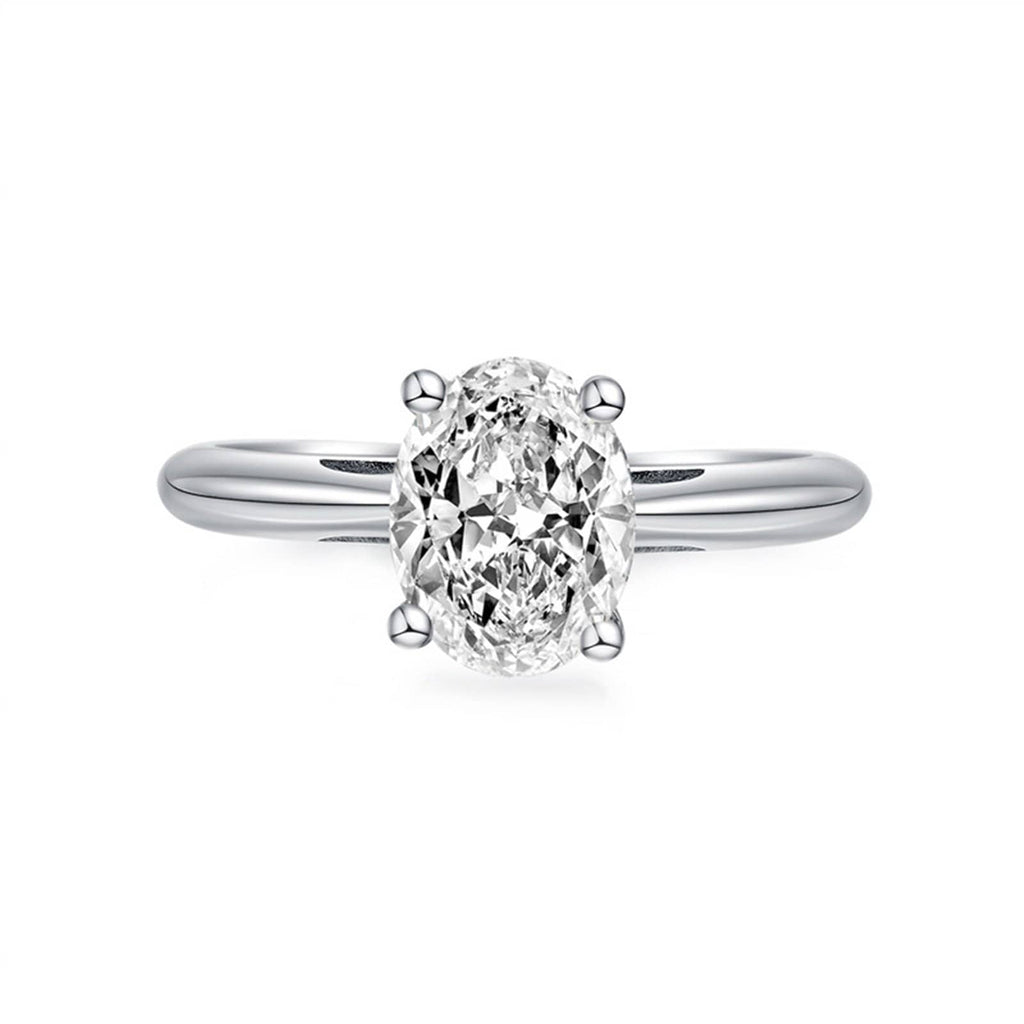 Rings Promise Womens Ring Sterling Silver Ring For Women Oval Cubic Zirconia Anniversary Rings Silver Ring Size 4.5