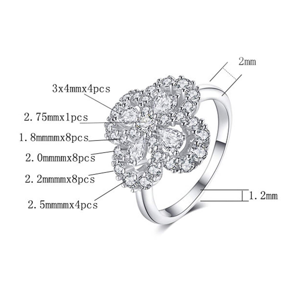 Engagement Ring Bands Womens Ring Sterling Silver Ring For Women Waterdrop Flower Cubic Zirconia Anniversary Rings Silver Ring Size 4